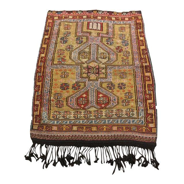 1900s TurkishVintag Colorful Tribal Wool Kilim Rug For Sale