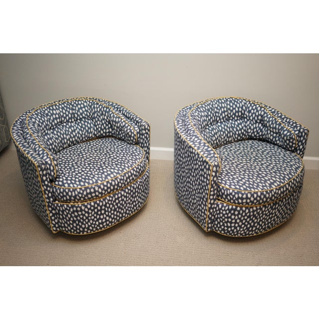 Mid-Century Baughman Style Plinth Base Swivel Chairs - A Pair For Sale In Raleigh - Image 6 of 12