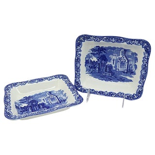 George Jones Blue Abbey Pattern Serving Bowls - a Pair