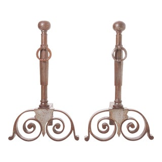 French Heavy Iron Andirons - a Pair For Sale