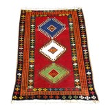 Image of 1960s Persian Tribal Orange Wool Rug - 3′10″ × 4′4″ For Sale