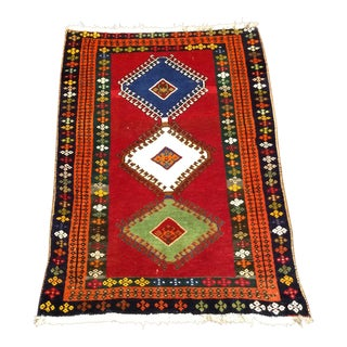 1960s Persian Tribal Orange Wool Rug - 3′10″ × 4′4″