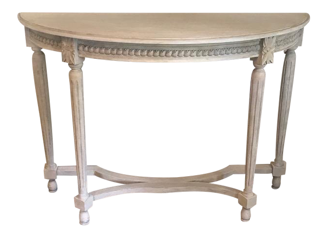 Gustavian Antique White Painted Demilune Table