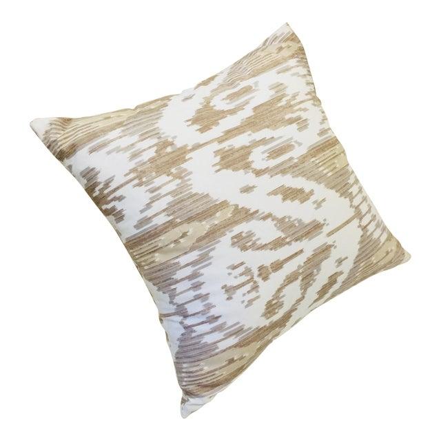 Brunschwig & Fils Neutral Beige & Gray Ikat Pattern Pillow For Sale