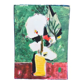 1970s Vintage Bernard Lorjou Floral Still Life French Expressionist Painting For Sale