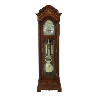 Howard Miller Inlaid Cherry & Mahogany Grandfather Presidential Clock For Sale