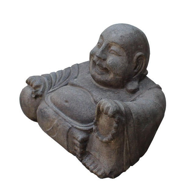 Asian Chinese Gray Stone Carved Small Sitting Happy Laughing Buddha Statue For Sale - Image 3 of 5