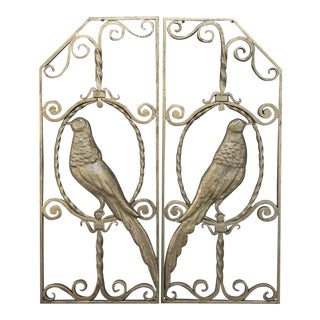 Pair French Art Deco Gilded Wrought Iron Gates For Sale
