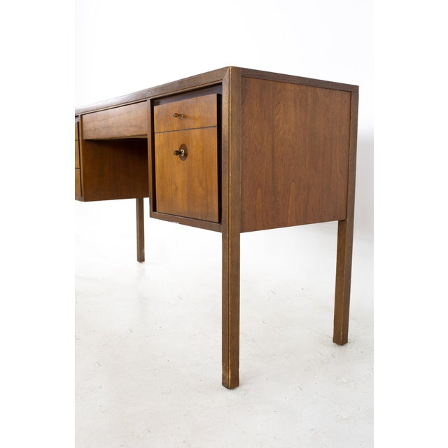 Mid 20th Century Lawrence Peabody Style Mid Century Walnut and Laminate Desk For Sale - Image 5 of 13