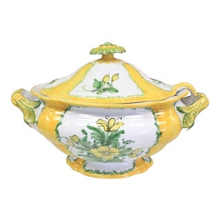 Vintage Yellow Floral Tureen For Sale