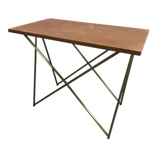 Brown Side Table With Triangle Base