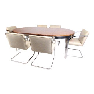 Vintage Modern Dining Set in the Style of Milo Baughman For Sale