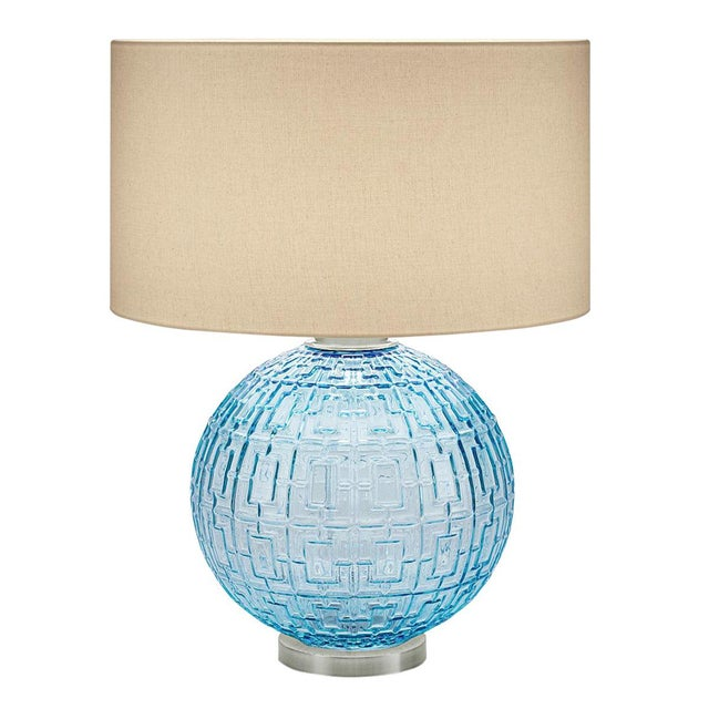Mid-Century Modern Aqua Glass With Brushed Nickel Table Lamp and Shade For Sale - Image 3 of 3