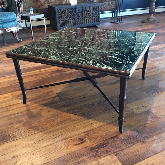 Mid-Century Regency Faux Bamboo Marbled Table - Image 7 of 8