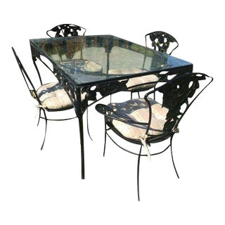1950s Vintage Russell Woodard Wrought Iron Patio Set- 5 Pieces For Sale