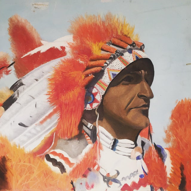 Indian Chief Oil Portrait - Image 7 of 7