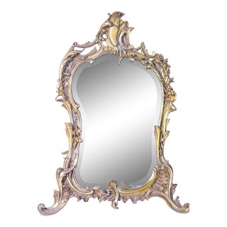19th French Silvered Bronze Table Mirror For Sale