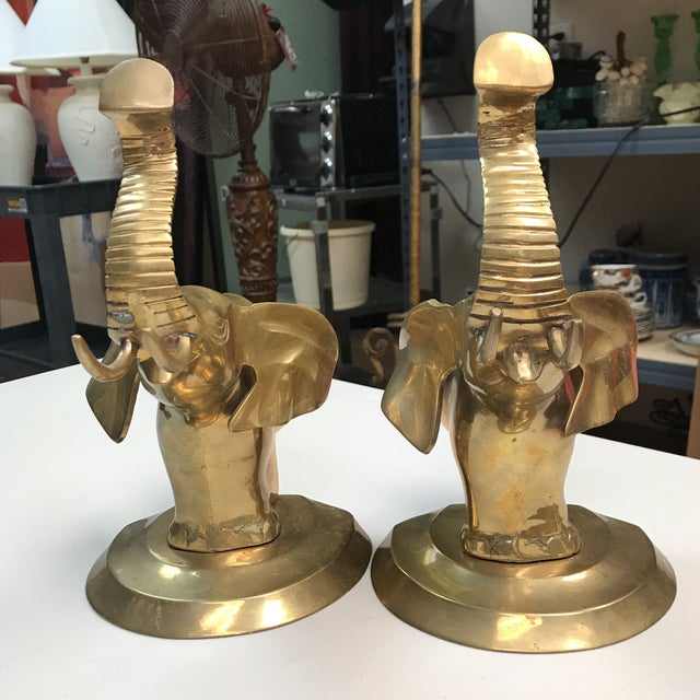 Primitive Brass Elephant Bookends - A Pair For Sale - Image 3 of 10