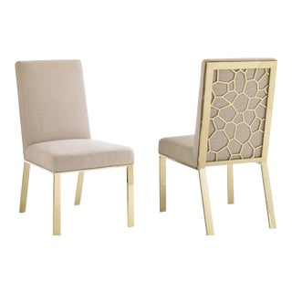 Modern Caracole on Thin Ice Brass Side Chair For Sale