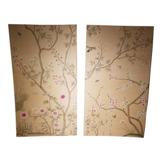 Silk Hand Painted Wallpaper Panels - a Pair For Sale