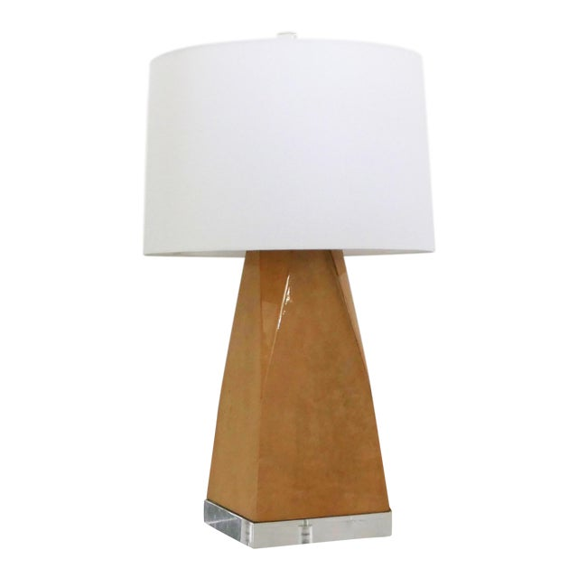 Vintage Lacquered and Lucite Lamp For Sale