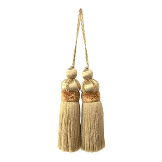 Gold Key Tassels With Cut Velvet Ruche- a Pair For Sale