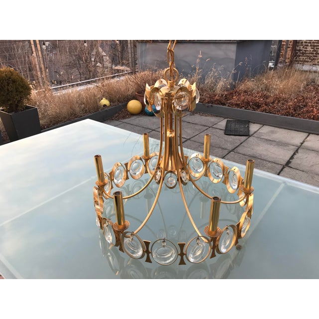 Brutalist 1970s Gold Brass and Crystal Palwa Chandelier Sciolari For Sale - Image 3 of 7