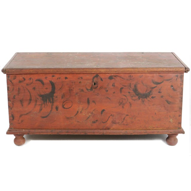 Early 19th Century Antique Primitive Red Paint Trunk For Sale - Image 13 of 13