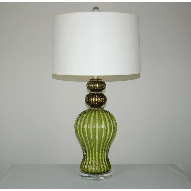 Hollywood Regency Vintage Murano Glass Table Lamps Green Gold For Sale - Image 3 of 10