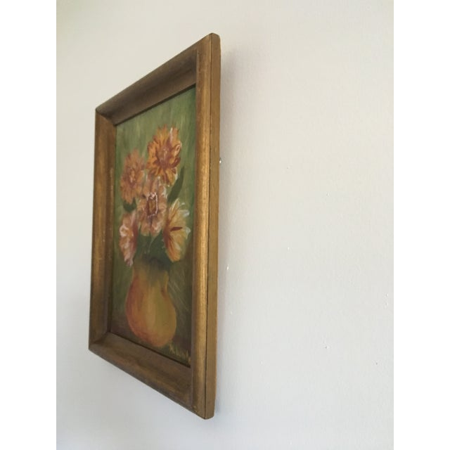 1960s Vintage Floral Still Life Painting on Board For Sale - Image 5 of 8