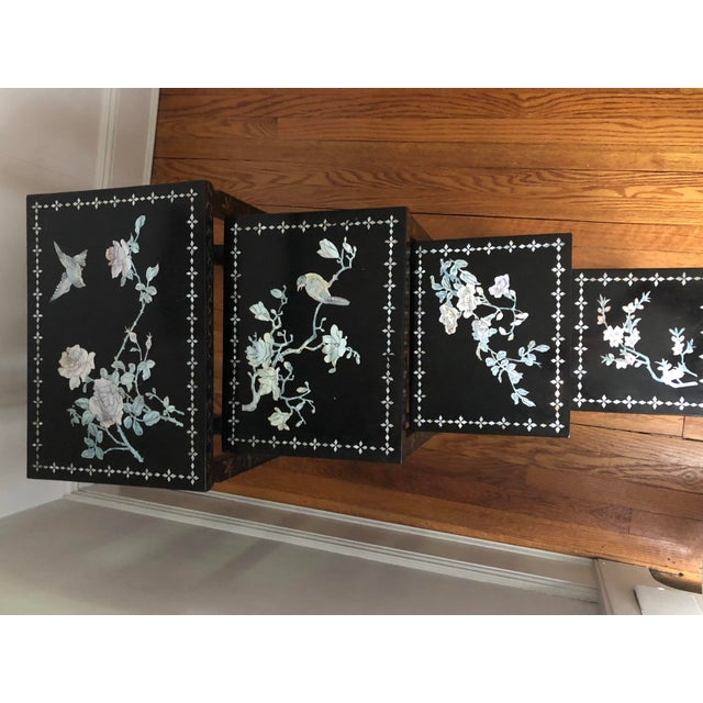 Mid Century Asian Black Lacquer Nesting Tables - Set of 4 For Sale - Image 11 of 13