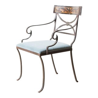 Vintage Wrought Iron Velvet Seat Chair For Sale
