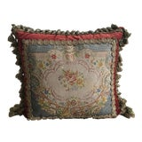 Image of Velvet Pillow With Antique Needlepoint Tapestry Panel For Sale