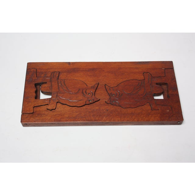 Brown Mid-20th Century Carved Owl Pop-Up Bookrack / Bookends For Sale - Image 8 of 12