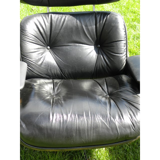 Vintage Plycraft Mid Century Vintage Leather Lounge Chair & Ottoman For Sale - Image 9 of 11
