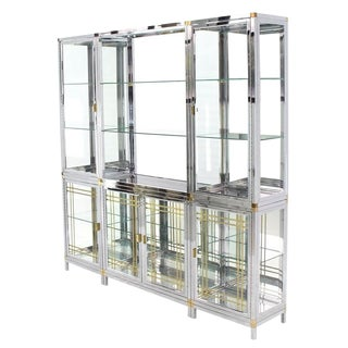 Spectacular Chrome Brass Glass Vitrine Cabinet Showcase For Sale