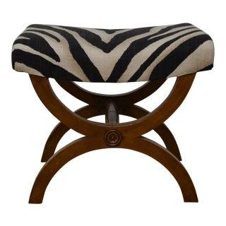 Ralph Lauren Mid Century Zebra Footstool For Sale