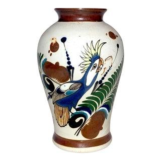 Vintage Parrot Tonala Vase, Signed For Sale