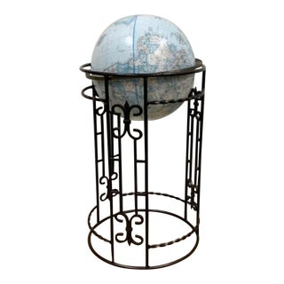 Replogle World Classic Globe Blue Wrought Iron Stand For Sale