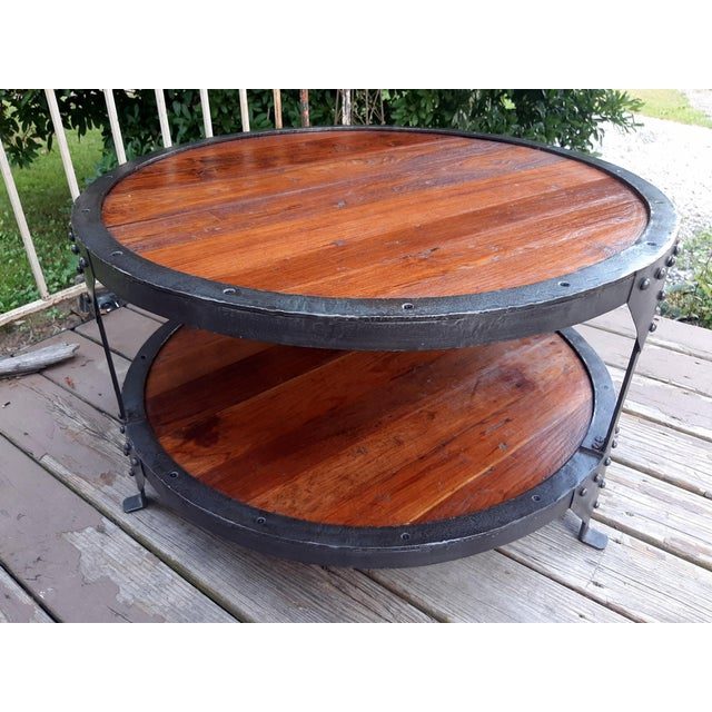 Industrial Farmhouse Round 2 Tier Reclaimed Chestnut Wood & Steel Coffee Table For Sale - Image 12 of 13