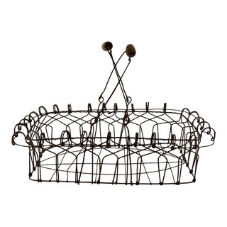 Vintage Folk Art Wire Basket W/ Wooden Handles For Sale