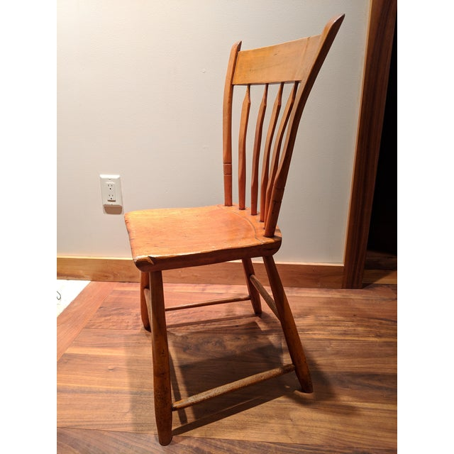 American American Primitive Maple Thumb Back Chair For Sale - Image 3 of 8