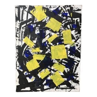 Vintage Abstract Painting Yellow on Black 1987