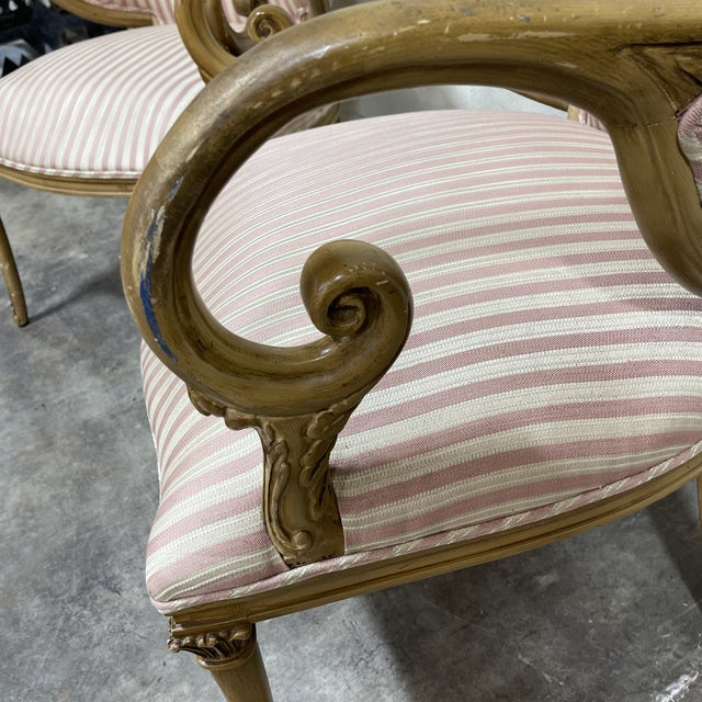 French Style Scrolled Arm Wood Carved Chairs - a Pair For Sale - Image 4 of 6