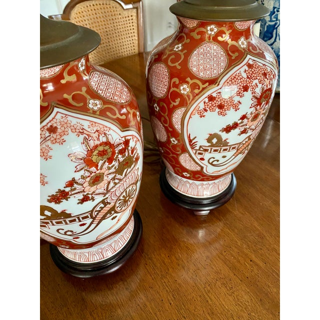 Beautiful pair of Gold Imari lamps! They are a great size and in perfect condition. They have new bases. The colors and...