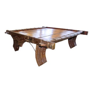Vintage Ox Cart With Tooled Metal Embellishments Coffee Table For Sale