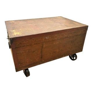 Industrial Wood Trunk Coffee Table For Sale
