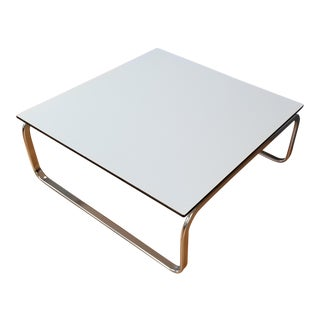 Mid-Century Modern Large Square Coffee Table With Chrome Base White Top For Sale