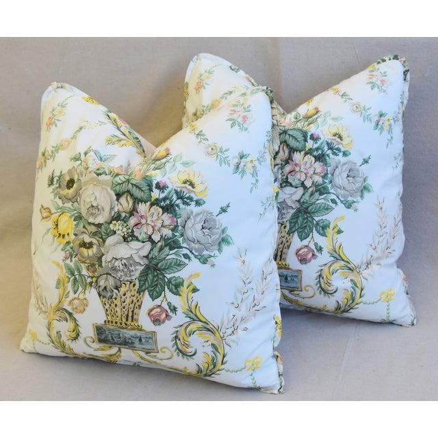 "Green Schumacher Floral Airlie Bouquet & Chenille Feather/Down Pillows 21"" Square - Pair For Sale - Image 8 of 13"