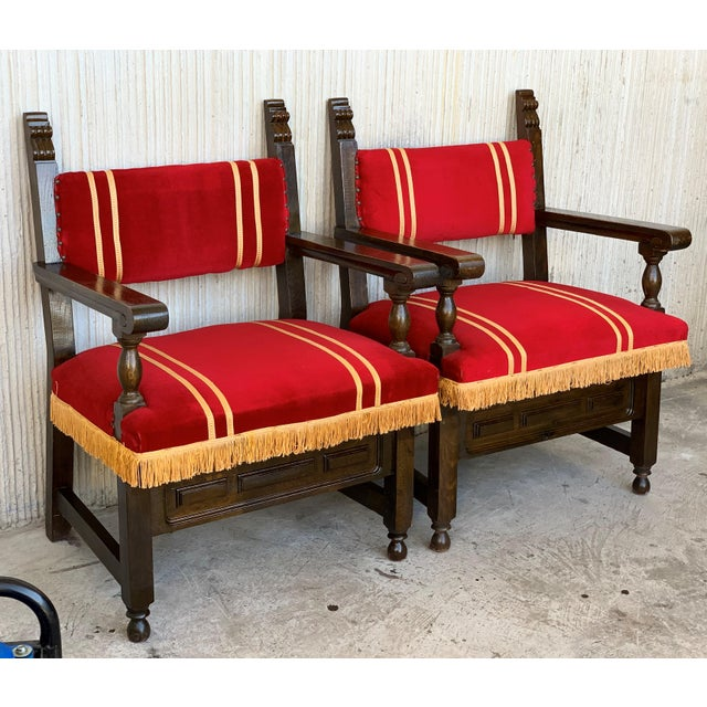 Late 19th Century 19th Set of Six Spanish Low Armchairs in Carved Walnut and Red Velvet Upholstery For Sale - Image 5 of 12